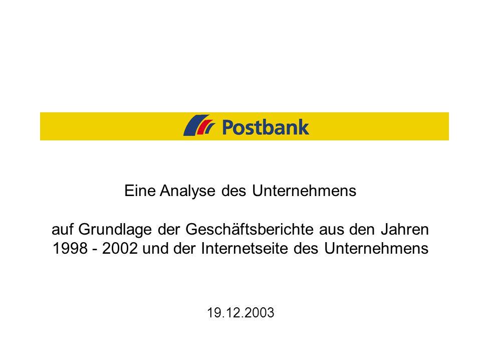 19.12.2003 Eine Analyse des Unternehmens auf Grundlage der Geschäftsberichte aus den Jahren 1998 - 2002 und der Internetseite des Unternehmens