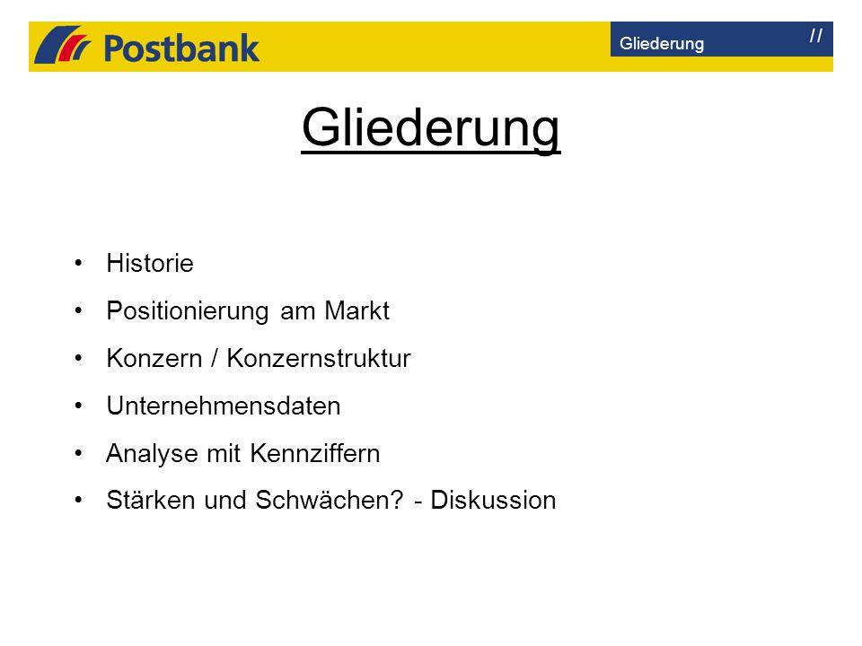 Gliederung Historie Positionierung am Markt Konzern / Konzernstruktur Unternehmensdaten Analyse mit Kennziffern Stärken und Schwächen? - Diskussion Gl