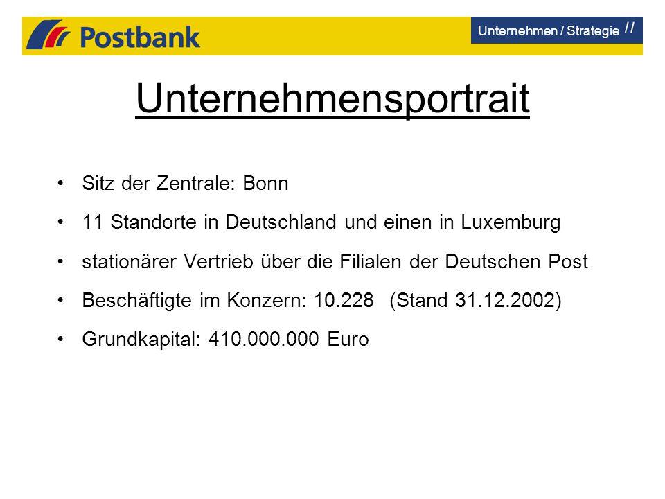 Unternehmensportrait Sitz der Zentrale: Bonn 11 Standorte in Deutschland und einen in Luxemburg stationärer Vertrieb über die Filialen der Deutschen P