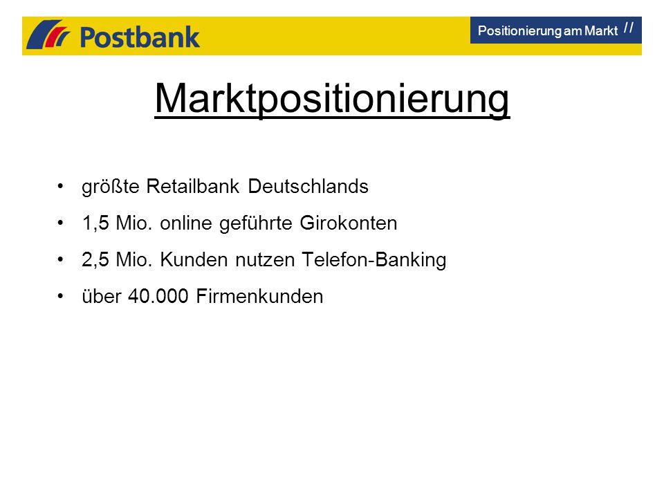 Marktpositionierung größte Retailbank Deutschlands 1,5 Mio. online geführte Girokonten 2,5 Mio. Kunden nutzen Telefon-Banking über 40.000 Firmenkunden