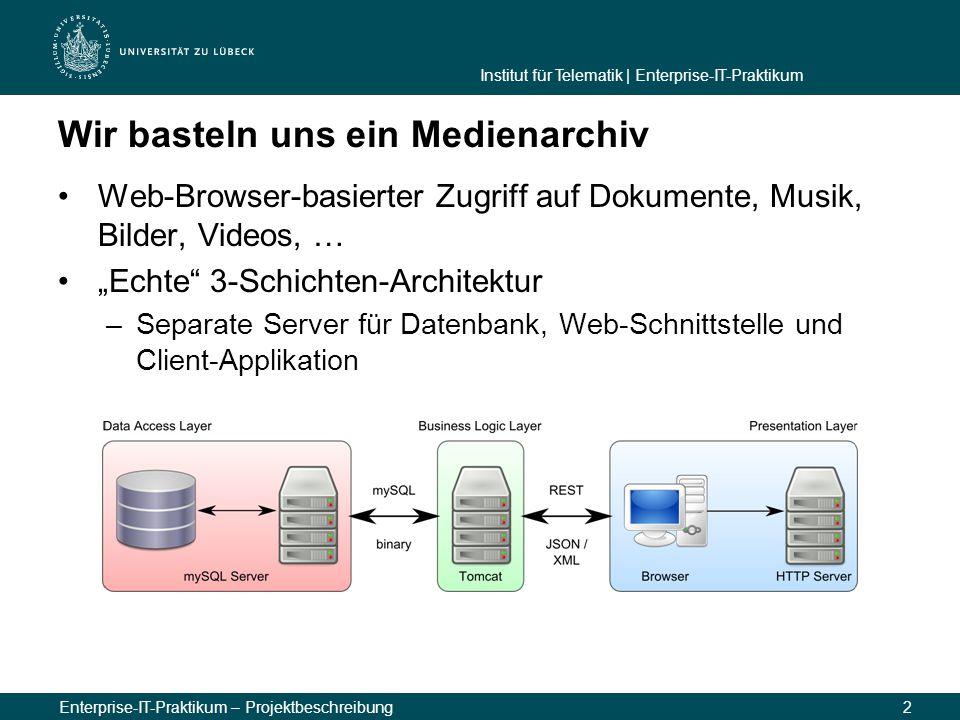 Institut für Telematik | Enterprise-IT-Praktikum Enterprise-IT-Praktikum – Projektbeschreibung2 Wir basteln uns ein Medienarchiv Web-Browser-basierter
