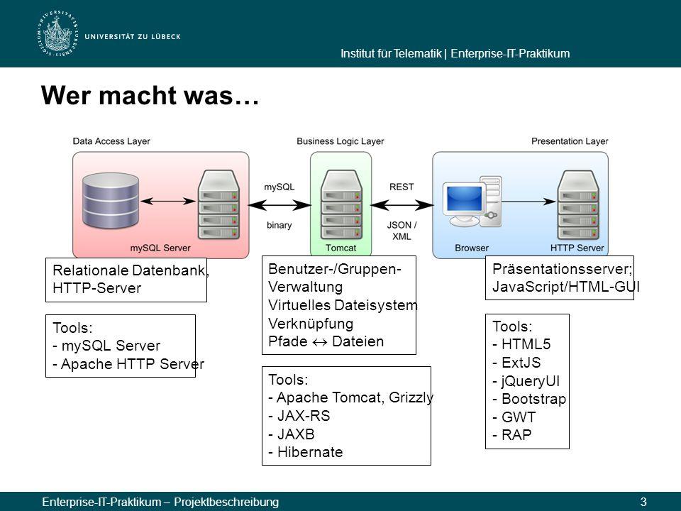 Institut für Telematik | Enterprise-IT-Praktikum Enterprise-IT-Praktikum – Projektbeschreibung3 Wer macht was… Relationale Datenbank, HTTP-Server Benu