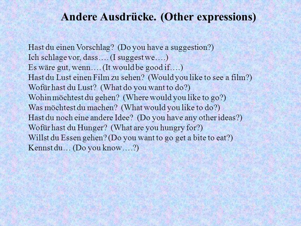 Andere Ausdrücke.(Other expressions) Hast du einen Vorschlag.