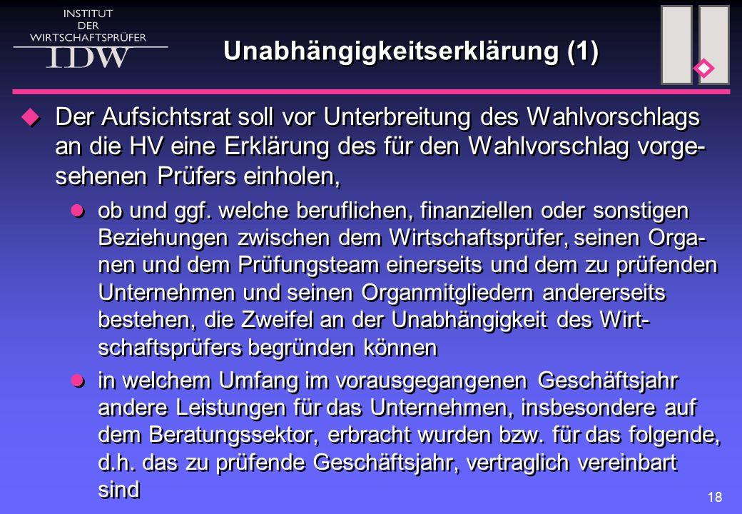 18 Unabhängigkeitserklärung (1)  Der Aufsichtsrat soll vor Unterbreitung des Wahlvorschlags an die HV eine Erklärung des für den Wahlvorschlag vorge- sehenen Prüfers einholen, ob und ggf.