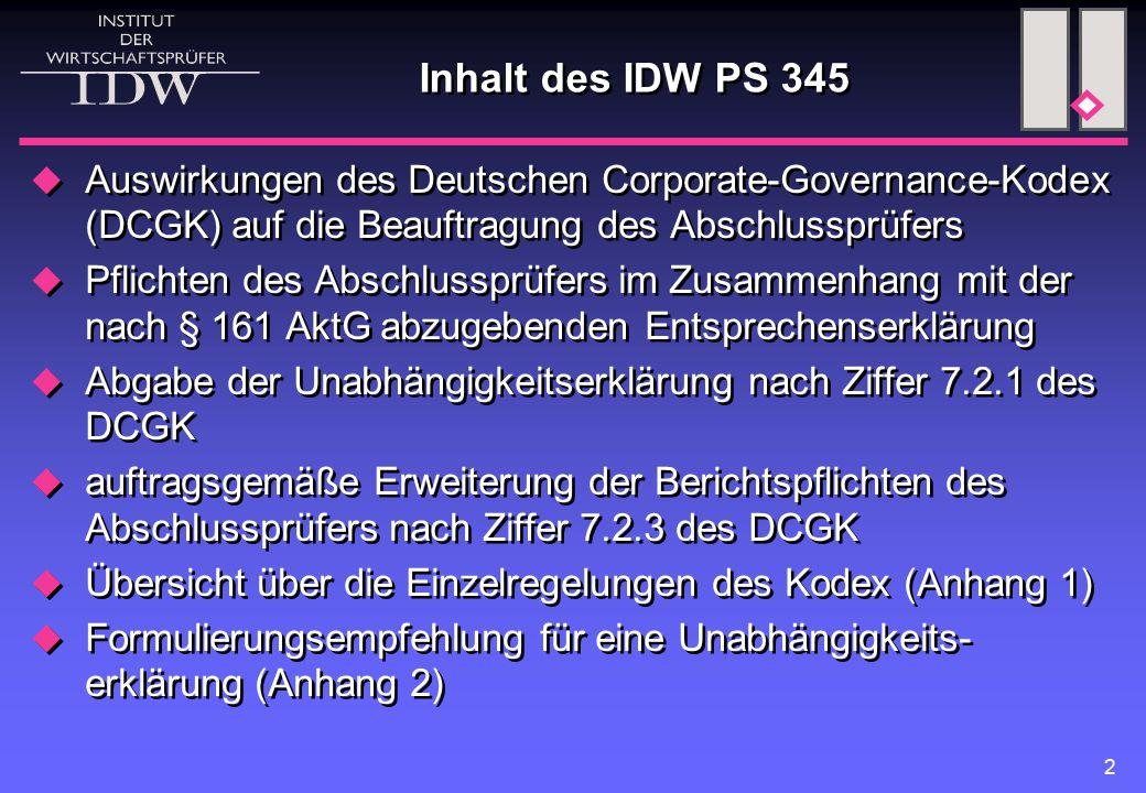 2 Inhalt des IDW PS 345  Auswirkungen des Deutschen Corporate-Governance-Kodex (DCGK) auf die Beauftragung des Abschlussprüfers  Pflichten des Abschlussprüfers im Zusammenhang mit der nach § 161 AktG abzugebenden Entsprechenserklärung  Abgabe der Unabhängigkeitserklärung nach Ziffer 7.2.1 des DCGK  auftragsgemäße Erweiterung der Berichtspflichten des Abschlussprüfers nach Ziffer 7.2.3 des DCGK  Übersicht über die Einzelregelungen des Kodex (Anhang 1)  Formulierungsempfehlung für eine Unabhängigkeits- erklärung (Anhang 2)  Auswirkungen des Deutschen Corporate-Governance-Kodex (DCGK) auf die Beauftragung des Abschlussprüfers  Pflichten des Abschlussprüfers im Zusammenhang mit der nach § 161 AktG abzugebenden Entsprechenserklärung  Abgabe der Unabhängigkeitserklärung nach Ziffer 7.2.1 des DCGK  auftragsgemäße Erweiterung der Berichtspflichten des Abschlussprüfers nach Ziffer 7.2.3 des DCGK  Übersicht über die Einzelregelungen des Kodex (Anhang 1)  Formulierungsempfehlung für eine Unabhängigkeits- erklärung (Anhang 2)