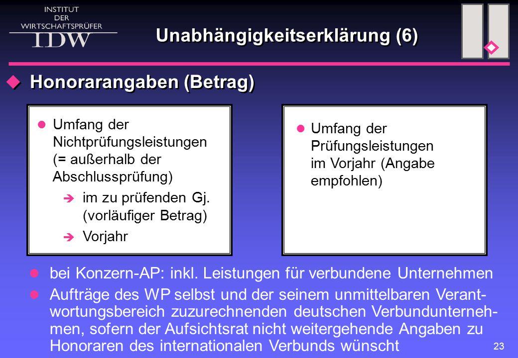 23 Unabhängigkeitserklärung (6)  Honorarangaben (Betrag) Umfang der Nichtprüfungsleistungen (= außerhalb der Abschlussprüfung)  im zu prüfenden Gj.