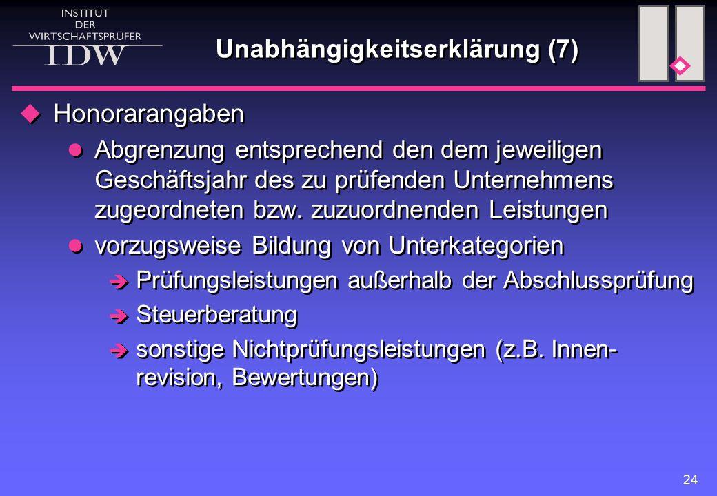 24 Unabhängigkeitserklärung (7)  Honorarangaben Abgrenzung entsprechend den dem jeweiligen Geschäftsjahr des zu prüfenden Unternehmens zugeordneten bzw.