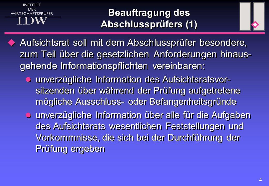 5 Beauftragung des Abschlussprüfers (2) Information des Aufsichtsrats bzw.