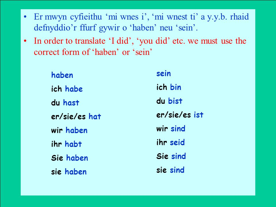 Berfau gorffennol rheolaidd sy'n cymryd 'haben' Creu'r geiryn rhagferfol (Y past participle) Regular past tense verbs that take 'haben'.