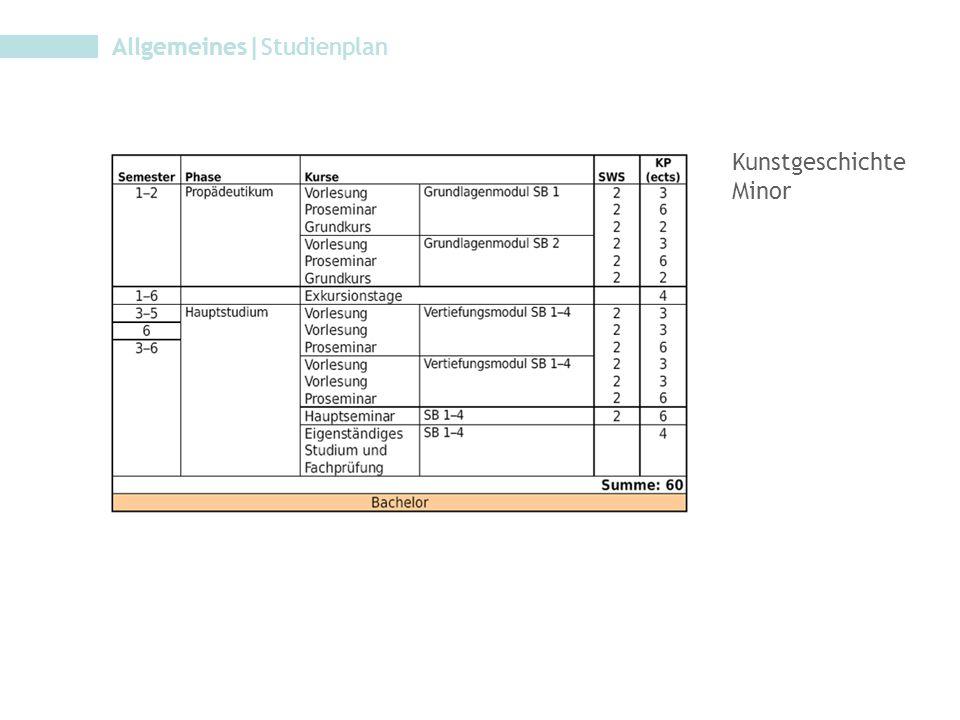 Allgemeines|Studienplan Kunstgeschichte Minor