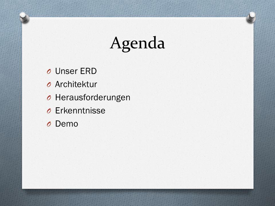 Agenda O Unser ERD O Architektur O Herausforderungen O Erkenntnisse O Demo