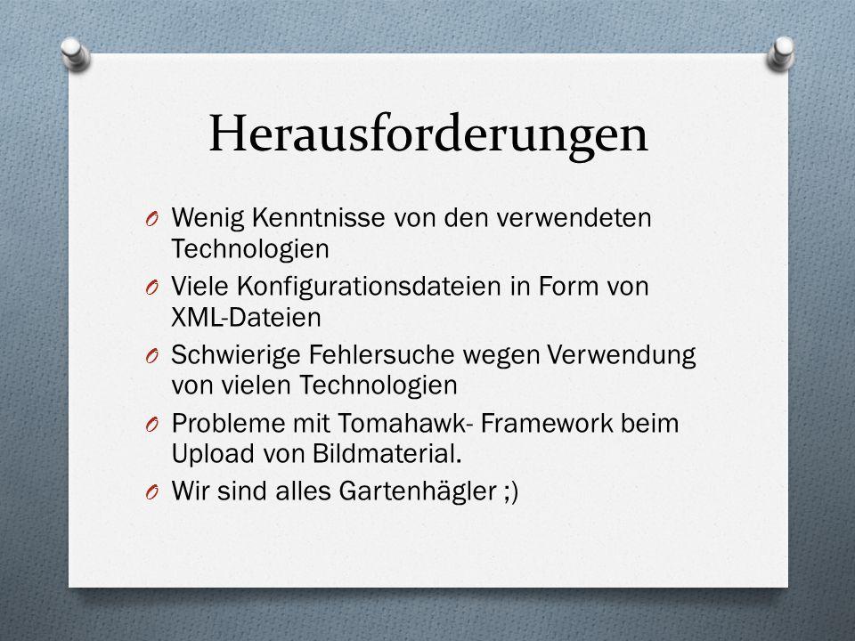 Herausforderungen O Wenig Kenntnisse von den verwendeten Technologien O Viele Konfigurationsdateien in Form von XML-Dateien O Schwierige Fehlersuche wegen Verwendung von vielen Technologien O Probleme mit Tomahawk- Framework beim Upload von Bildmaterial.