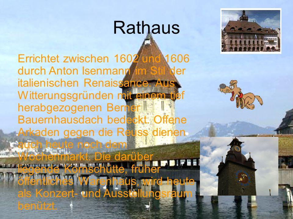 Rathaussteg Gleich bei der Jesuitenkirche befindet sich der Rathaussteg. Über den Rathaussteg, auch Reusssteg genannt kommt man logischerweise zum Rat