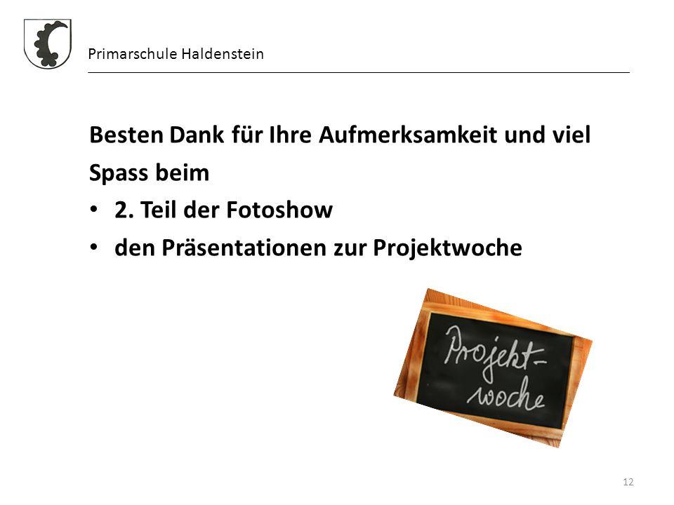 12 Primarschule Haldenstein Besten Dank für Ihre Aufmerksamkeit und viel Spass beim 2. Teil der Fotoshow den Präsentationen zur Projektwoche