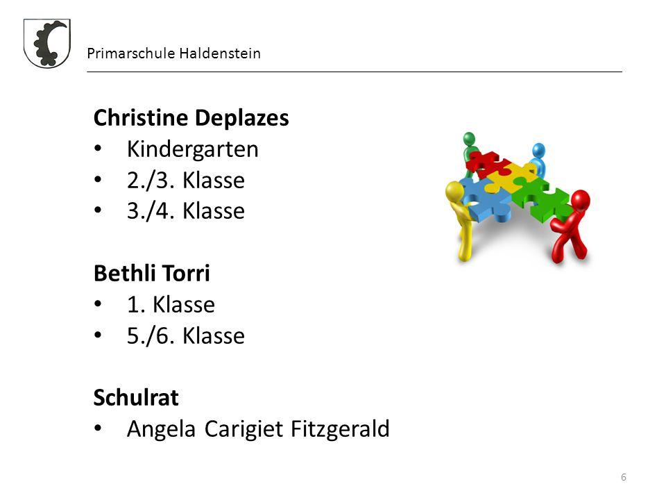 6 Primarschule Haldenstein Christine Deplazes Kindergarten 2./3. Klasse 3./4. Klasse Bethli Torri 1. Klasse 5./6. Klasse Schulrat Angela Carigiet Fitz