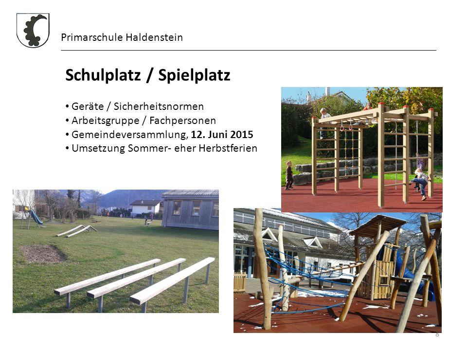 8 Primarschule Haldenstein Schulplatz / Spielplatz Geräte / Sicherheitsnormen Arbeitsgruppe / Fachpersonen Gemeindeversammlung, 12. Juni 2015 Umsetzun