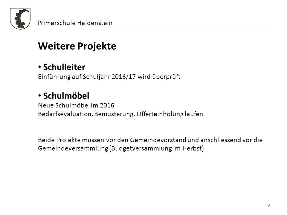 9 Primarschule Haldenstein Weitere Projekte Schulleiter Einführung auf Schuljahr 2016/17 wird überprüft Schulmöbel Neue Schulmöbel im 2016 Bedarfseval