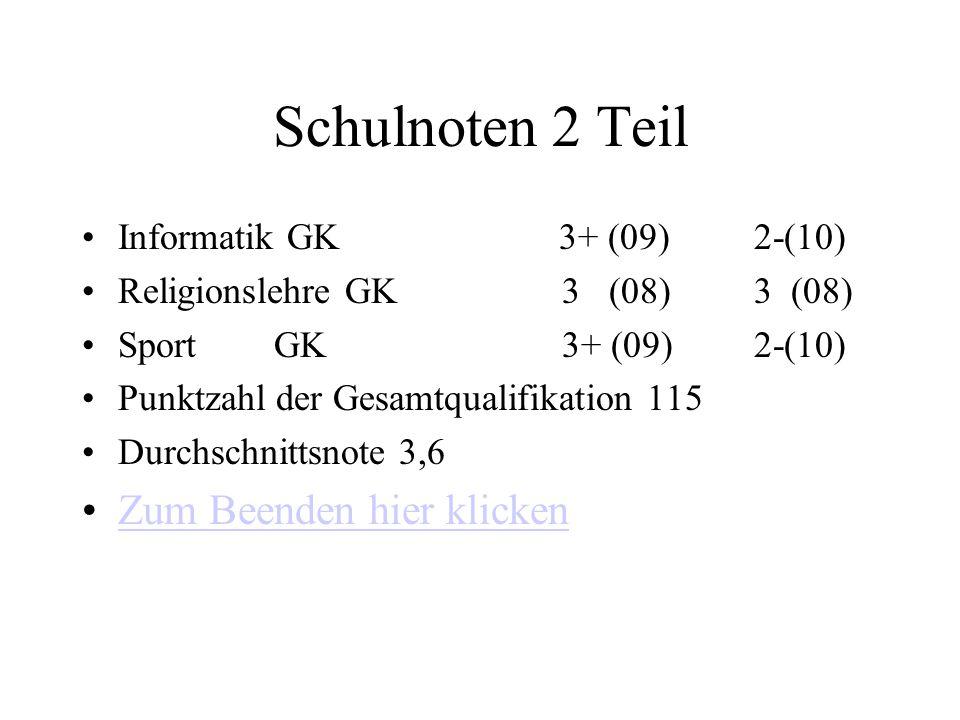 Schulnoten 12/112/2 Fach Note(Punkte) Deutsch GK4 - (04)5 (2) EnglischGK5+ (03)4 (5) Latein GK4 - (04)6 (0) Literatur GK--------3+(9) Geschichte GK4 (