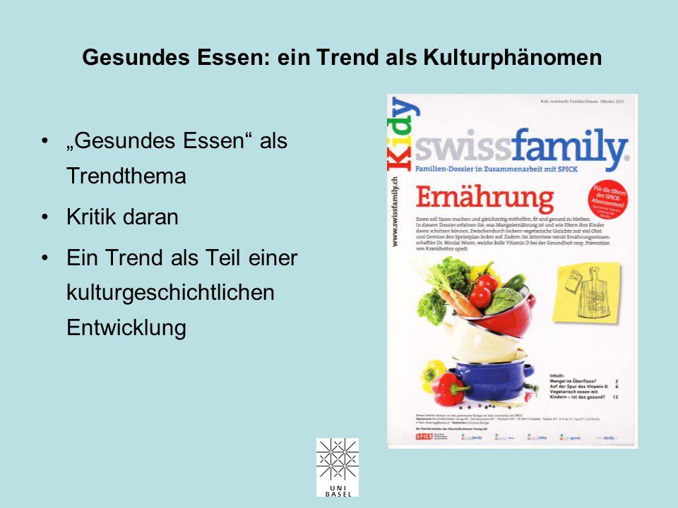 Essen als Kultur Essen und Kultur: Tradition, Pluralisierung, Selbstverortung, Distinktion Gesundes Essen: ein Trend als Kulturphänomen Gesundes Essen