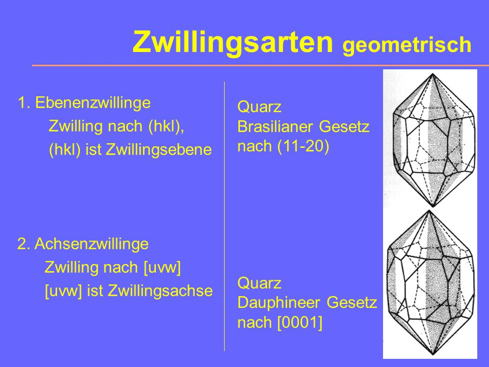 Zwillingsarten geometrisch 1.Ebenenzwillinge Zwilling nach (hkl), (hkl) ist Zwillingsebene 2.