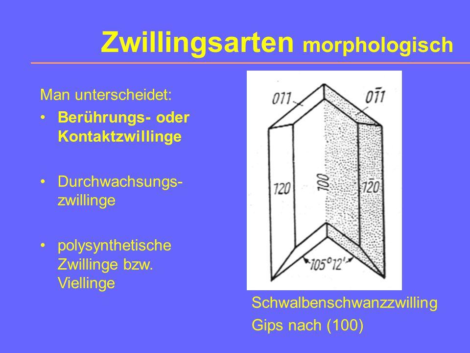 Zwillingsarten morphologisch Schwalbenschwanzzwilling Gips nach (100) Man unterscheidet: Berührungs- oder Kontaktzwillinge Durchwachsungs- zwillinge polysynthetische Zwillinge bzw.