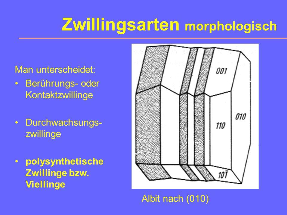 Zwillingsarten morphologisch Albit nach (010) Man unterscheidet: Berührungs- oder Kontaktzwillinge Durchwachsungs- zwillinge polysynthetische Zwillinge bzw.