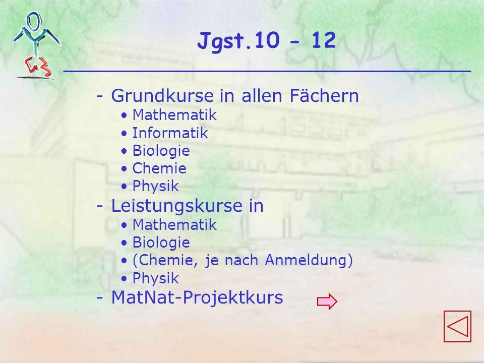 Jgst.10 - 12 -Grundkurse in allen Fächern Mathematik Informatik Biologie Chemie Physik -Leistungskurse in Mathematik Biologie (Chemie, je nach Anmeldung) Physik -MatNat-Projektkurs