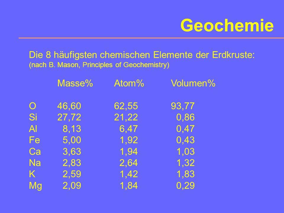 Geochemie Teilgebiete Isotopengeochemie Geochronologie Hauptelement- Geochemie Spurenelement- Geochemie REE-Geochemie Kosmochemie Umweltgeochemie z.B.