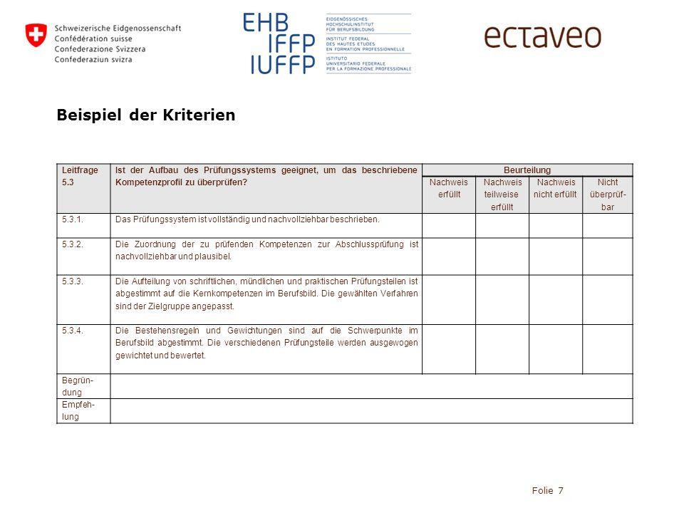 Beispiel der Kriterien Folie 7 Leitfrage 5.3 Ist der Aufbau des Prüfungssystems geeignet, um das beschriebene Kompetenzprofil zu überprüfen.