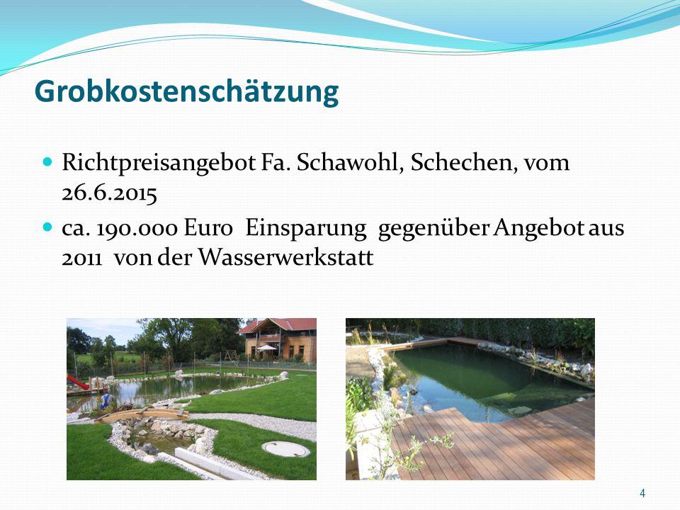 Grobkostenschätzung Richtpreisangebot Fa. Schawohl, Schechen, vom 26.6.2015 ca. 190.000 Euro Einsparung gegenüber Angebot aus 2011 von der Wasserwerks