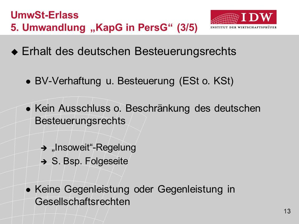 13  Erhalt des deutschen Besteuerungsrechts BV-Verhaftung u. Besteuerung (ESt o. KSt) Kein Ausschluss o. Beschränkung des deutschen Besteuerungsrecht