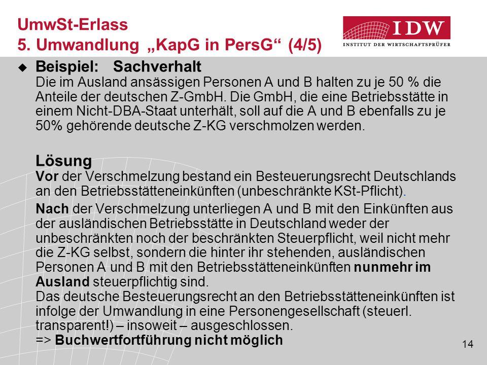 14  Beispiel: Sachverhalt Die im Ausland ansässigen Personen A und B halten zu je 50 % die Anteile der deutschen Z-GmbH. Die GmbH, die eine Betriebss
