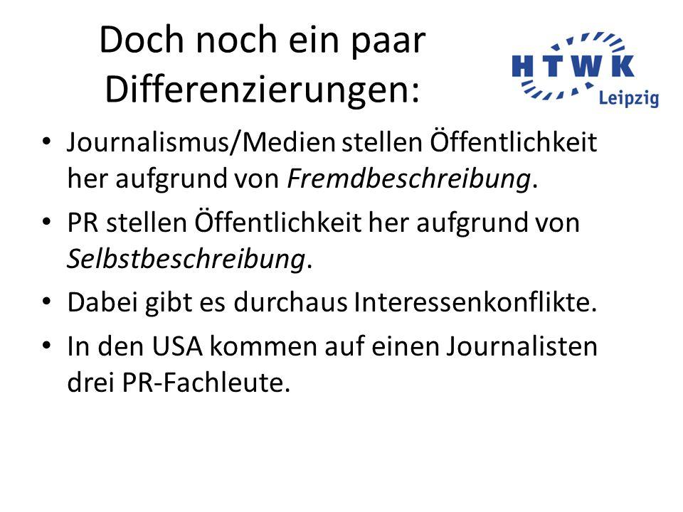 Doch noch ein paar Differenzierungen: Journalismus/Medien stellen Öffentlichkeit her aufgrund von Fremdbeschreibung.
