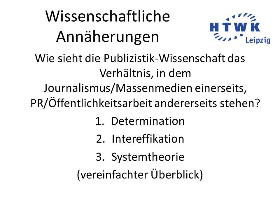 Wissenschaftliche Annäherungen Wie sieht die Publizistik-Wissenschaft das Verhältnis, in dem Journalismus/Massenmedien einerseits, PR/Öffentlichkeitsarbeit andererseits stehen.