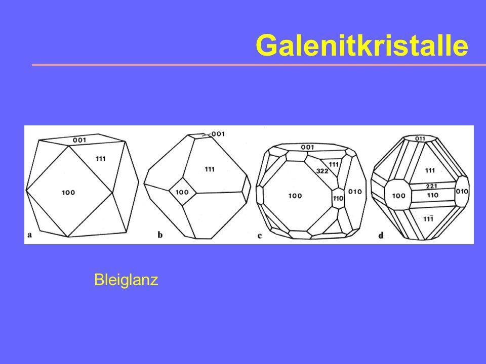2. Sulfide auch Selenide, Telluride, Arsenide, Antimonide Me:S > 1:1 Chalcosin Cu 2 S, Argentit Ag 2 S, Pentlandit (Ni,Fe) 9 S 8 Me:S = 1:1 Galenit Pb