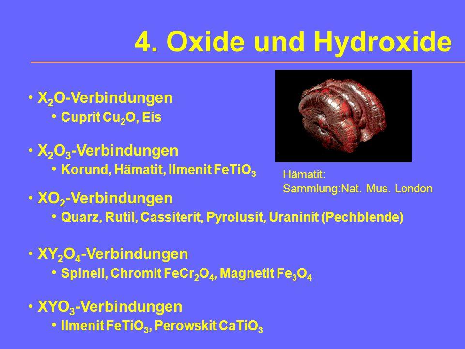 3. Halogenide Halit NaCl (-> HCl, NaOH, Soda, Cl 2, Na, Kochsalz) Sylvin KCl (Düngemittel) Fluorit CaF 2 (Optikwerkstoff, Flussmittel, Glasuren) Carna