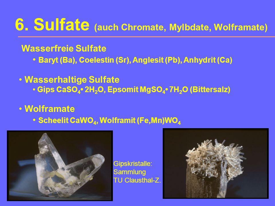 5. Carbonate (auch Nitrate, Borate) Calcit-Reihe Calcit, Rhodochrosit (Mn), Siderit (Fe) Smithsonit (Zn), Magnesit (Mg) Aragonit-Reihe Aragonit (Ca),