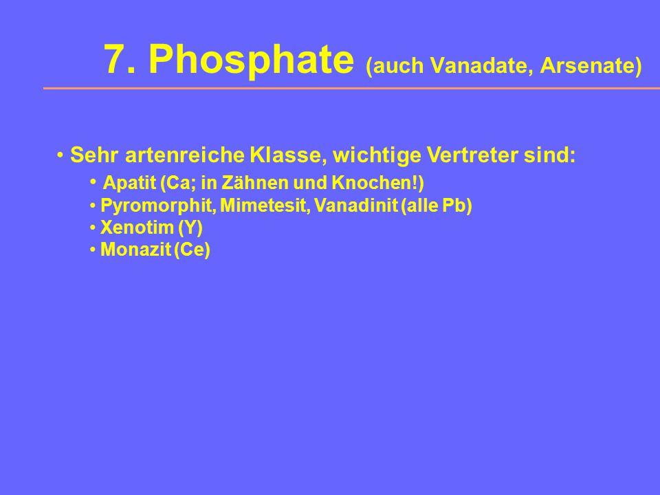 6. Sulfate (auch Chromate, Mylbdate, Wolframate) Wasserfreie Sulfate Baryt (Ba), Coelestin (Sr), Anglesit (Pb), Anhydrit (Ca) Wasserhaltige Sulfate Gi