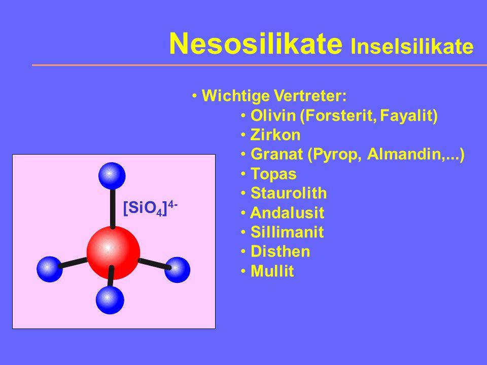 8. Silikate Bauprinzip: SiO 4 -Tetraeder mit verschiedener Verknüpfung und möglicher Al-Si-Ersetzung Abteilungen: Neso- Soro- Cyclo- Ino- Phyllo- und