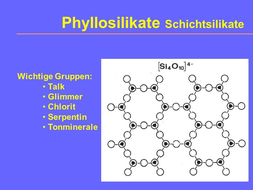 Inosilikate Kettensilikate Wichtige Vertreter: Pyroxene (links) Enstatit Diopsid Hedenbergit Augit Ägirin u.v.a.m. Amphibole (rechts) Antophyllit Trem
