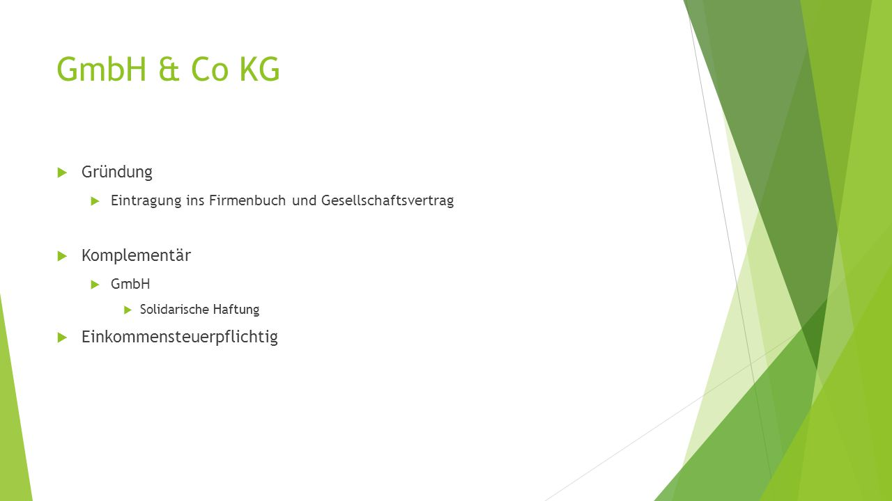 GmbH & Co KG  Gründung  Eintragung ins Firmenbuch und Gesellschaftsvertrag  Komplementär  GmbH  Solidarische Haftung  Einkommensteuerpflichtig