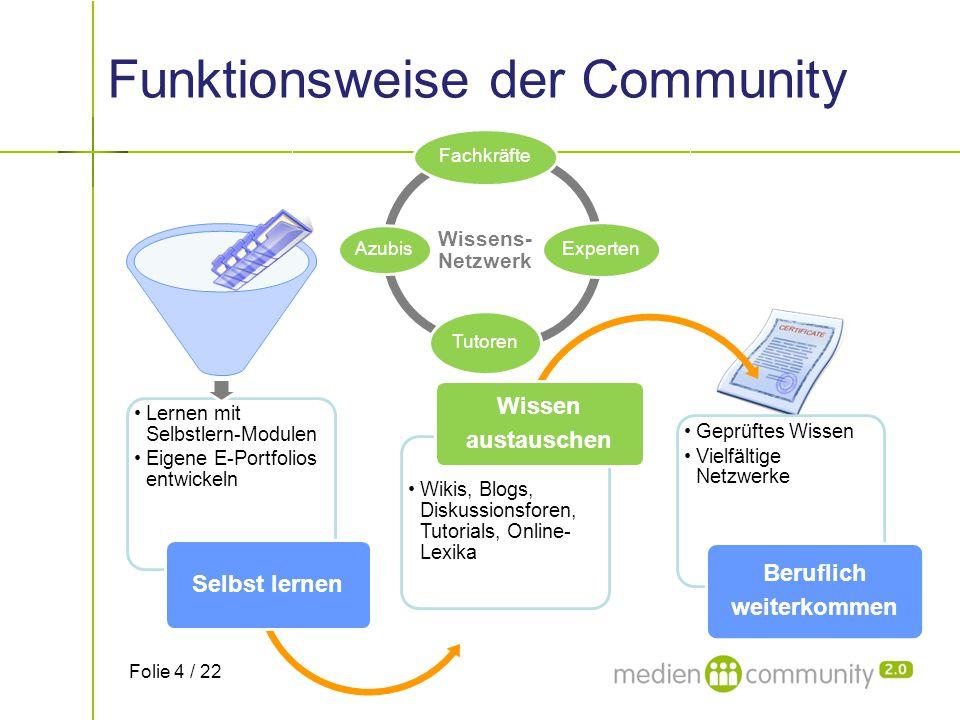 Wissens- Netzwerk Fachkräfte Experten Tutoren Azubis Funktionsweise der Community Lernen mit Selbstlern-Modulen Eigene E-Portfolios entwickeln Selbst