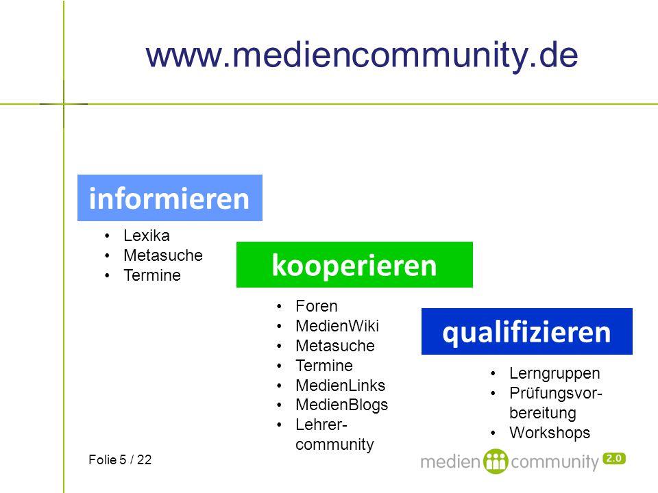 www.mediencommunity.de informieren Lexika Metasuche Termine kooperieren Foren MedienWiki Metasuche Termine MedienLinks MedienBlogs Lehrer- community q