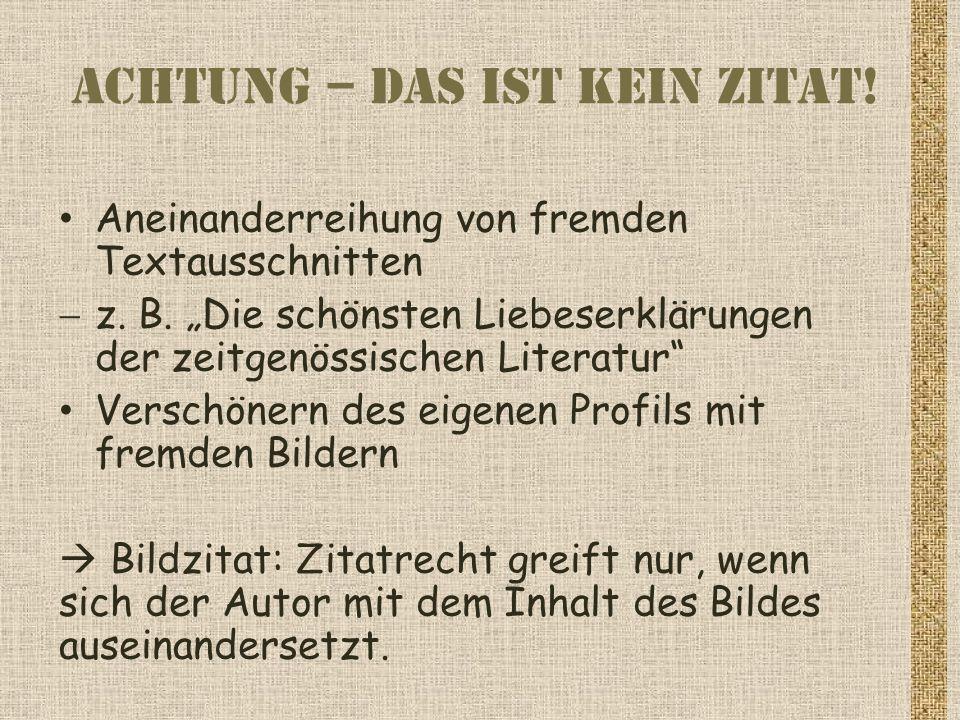 Achtung fremde Werke.
