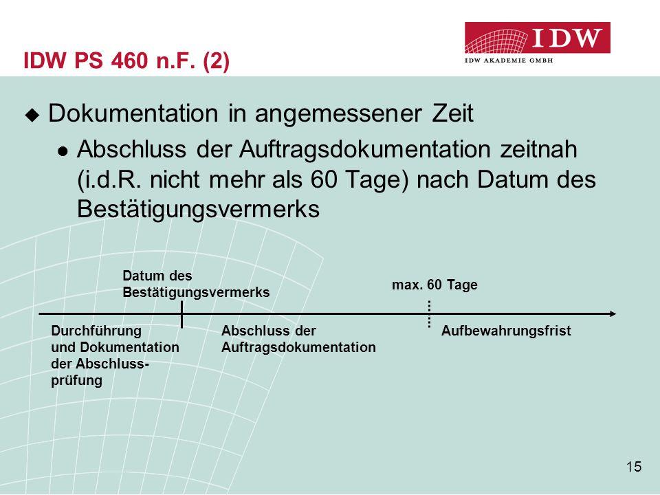15 IDW PS 460 n.F. (2)  Dokumentation in angemessener Zeit Abschluss der Auftragsdokumentation zeitnah (i.d.R. nicht mehr als 60 Tage) nach Datum des