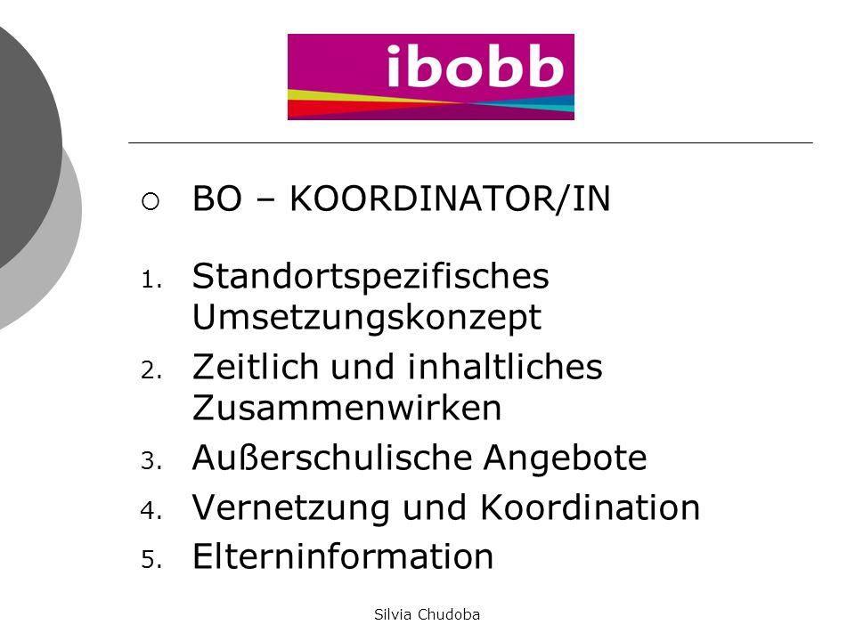  BO – KOORDINATOR/IN 1. Standortspezifisches Umsetzungskonzept 2. Zeitlich und inhaltliches Zusammenwirken 3. Außerschulische Angebote 4. Vernetzung