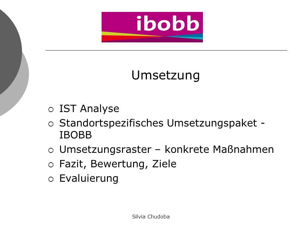 Umsetzung  IST Analyse  Standortspezifisches Umsetzungspaket - IBOBB  Umsetzungsraster – konkrete Maßnahmen  Fazit, Bewertung, Ziele  Evaluierung
