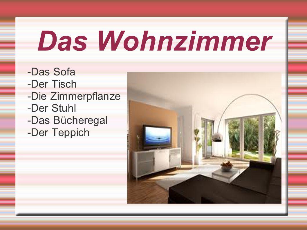 -Das Sofa -Der Tisch -Die Zimmerpflanze -Der Stuhl -Das B ü cheregal -Der Teppich Das Wohnzimmer