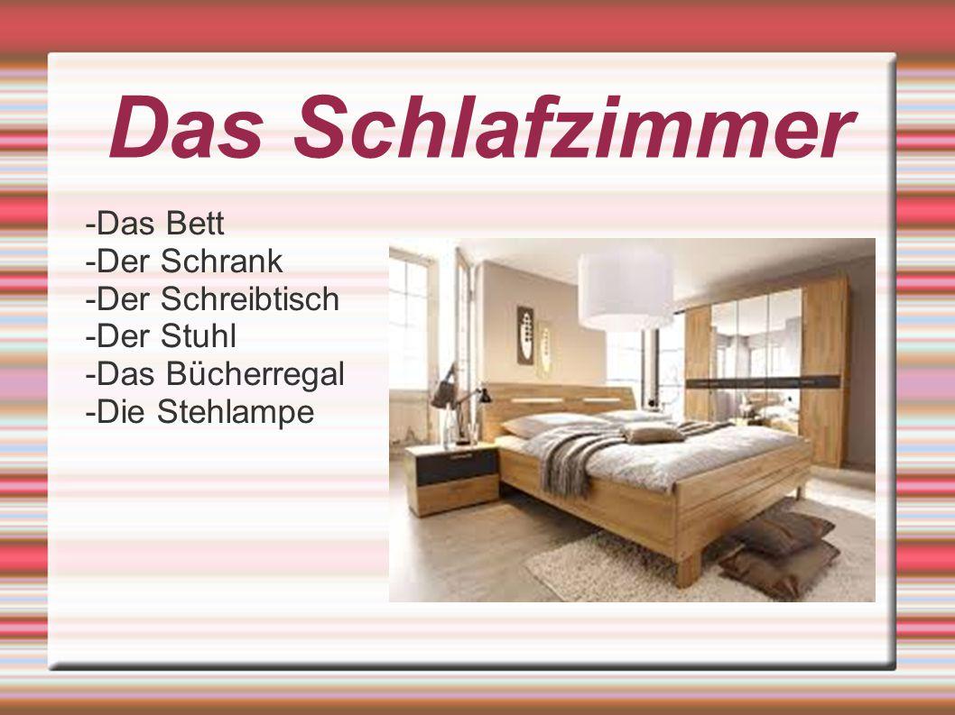 Das Schlafzimmer -Das Bett -Der Schrank -Der Schreibtisch -Der Stuhl -Das Bücherregal -Die Stehlampe