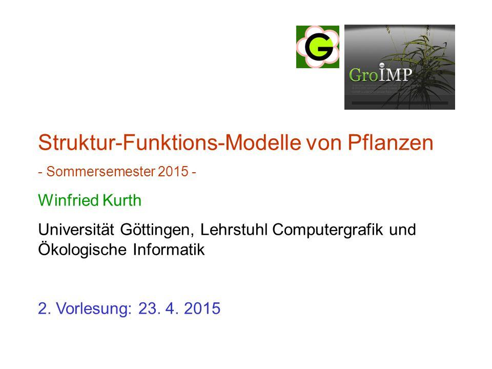 letztes Mal: Modelldreieck für Pflanzenmodelle reine Strukturmodelle, Motivation 3 Ebenen der Strukturbeschreibung 2 Arten der statischen Beschreibung - tabellarisch (dtd-Format) - imperativ (turtle geometry) (noch nicht behandelt)  Einstieg in GroIMP (Bedienung)